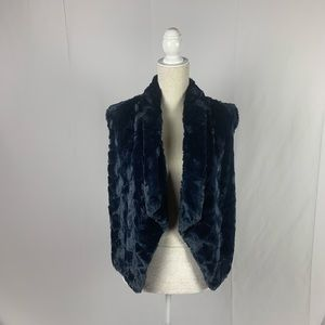 Love Token Faux Fur Navy Vest